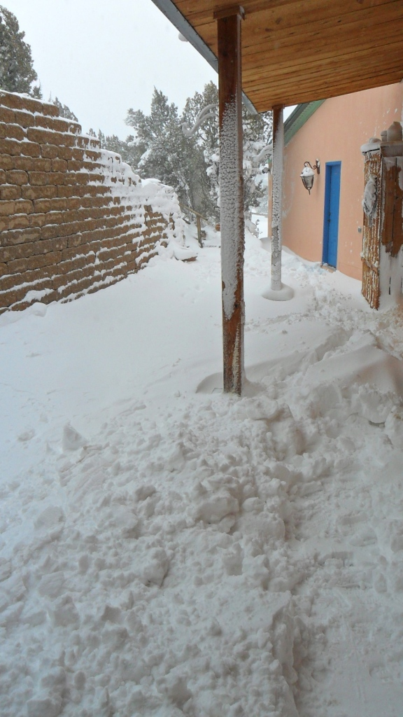 The view from the front door after digging it out twice from reoccurring drifts.